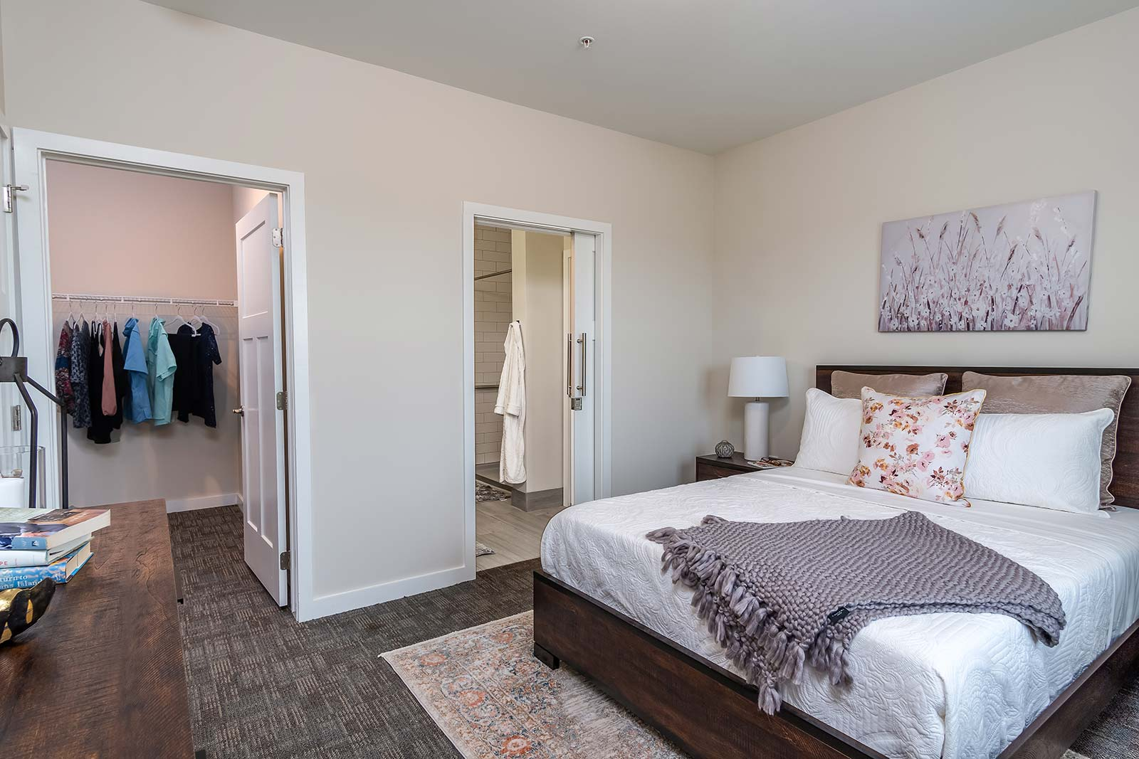 Luxurious bedroom and en-suite bathroom in our Plant City FL assisted living and memory care senior apartments